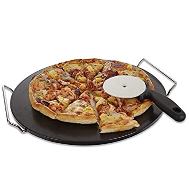 Pizza Stone for Oven Grill Black Glaze BBQ Baking Stone Round Ceramic with Cutter Handle Set Non-Stain, 15X2/5''