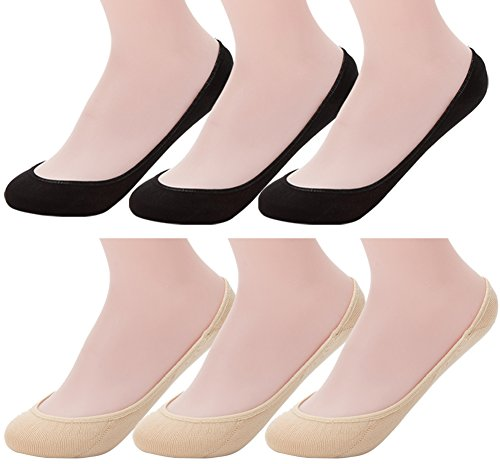 Ndoobiy 6 Pairs Women's No Show Socks Nonslip Invisible Socks Low Cut Liner Summer Socks for Flats High Heels Assort