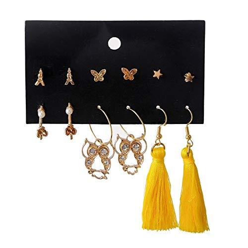 Xingguang Novità orecchini Europa e Stati Uniti transfrontaliero nuovo gufo a cinque punte stella farfalla se nappe 6 paia di orecchini a perno set (colore metallo: oro)