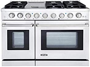 LYCAN 48 Inch Slide-in Freestanding Double Gas Range with 6 Sealed Burner Cast Iron Grates and Primary Convection Oven in Stainless Steel