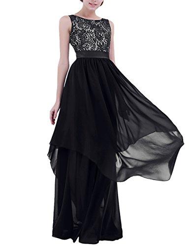 YiZYiF Women's Elegant Sleeveless V-Back Black Lace Bridesmaid Maxi Long Dress Black X-Large