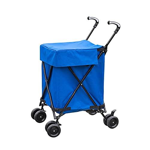 LVLUOKJ Einkaufstrolley Oxford-Tuch Klappbar, Einkaufsroller mit Rollen, Multifunktionaler Kaufwagen mit 30Kg Große Kapazität (Color : Blue, Size : 45 * 56 * 95cm)