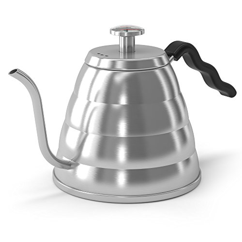 Gooseneck Pour Over Coffee Kettle - Built-in Thermometer - For Hand Drip Coffee - 1.2l / 40floz - By Coffee Gator