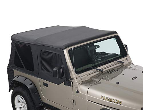 King 4WD Premium Replacement Soft Top with Upper Doors - Black Diamond with Tinted Windows - Jeep Wrangler TJ 1997-2006