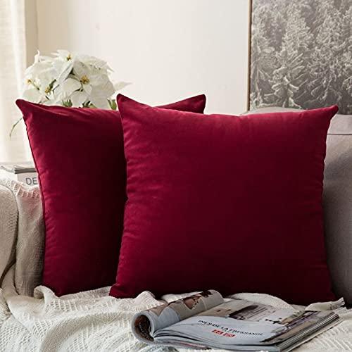Onwaymall Cojín de terciopelo de 45 x 45 cm, cojín cuadrado decorativo para sofá, cama, silla, dormitorio, jardín, cama, sofá (2 conjuntos, rojo vino)