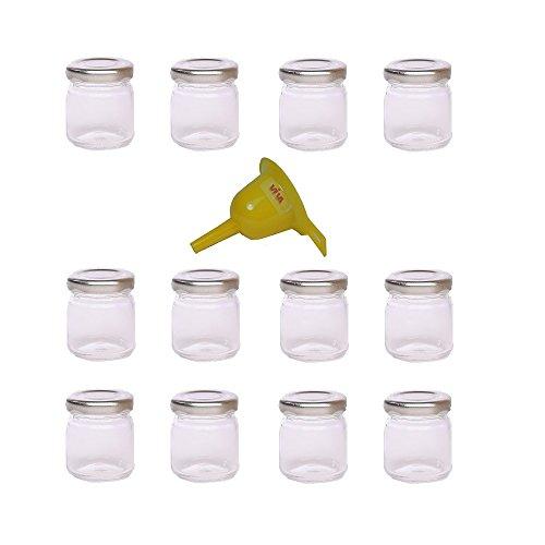 Viva Haushaltswaren Lot de 12 Mini bocaux à Confiture avec couvercles vissables et Entonnoir Argenté 53 ML