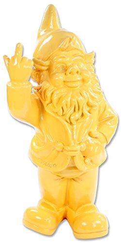 Happy Gifts Gartenzwerg, Deko-Figur frecher Gartenzwerg zeigt Stinkefinger aus Kunstharz für Garten und Haus (Gelb)