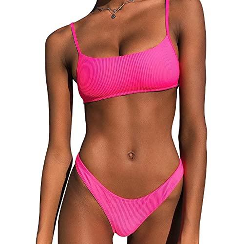 JIACUO Women Sexy 2 Piece Bikini Set Spaghetti Strap Bandeau Ribbed Padded...