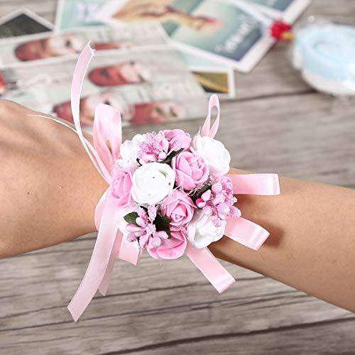 Aoutecen Pulsera de Flores Pulsera de Rosas Ramillete de muñeca de Dama de Honor(Pink Flower)