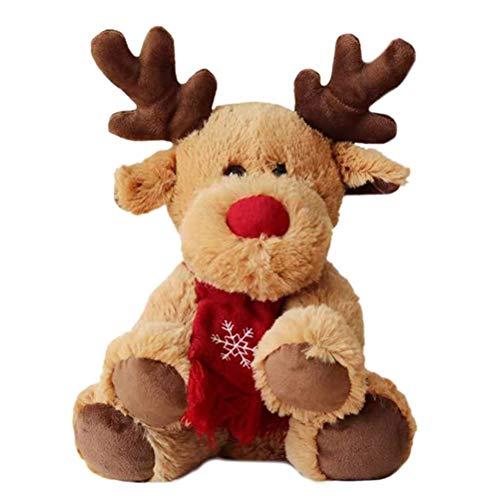 Elch Plüschtier, Plüschtier braunes Elch Hirsch Kuscheltier Stofftier Weihnachtsschmuck,Weihnachts, Neujahrs Geschenke fur Kinder
