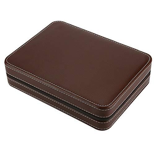 LKHF Zippered Leather Watch Display Case 8 Grids Watch Storage Bag Case Holder Watches Organizer Box