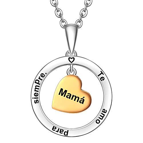 ENGSWA Collar Mujer Plata de Ley 925 Colgante Aro con Corazón Grabado Regalo para Madre Mamá