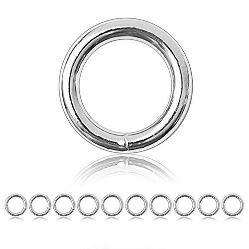 Ganzoo O - Ring Stahl, 10 Stück, 35mm außen, geschweißt Nicht-rostend, für Paracord 550