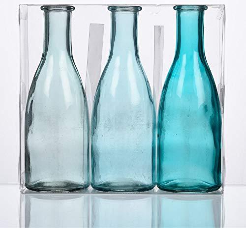 Matches21 - Juego de 3 botellas de cristal decorativas de 6,6 x 18,5 cm de diámetro, jarrones decorativos, tonos azules.