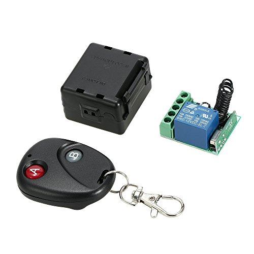 Festnight 433 Mhz DC 12V 1CH Telecomando senza fili RF Relay Interruttore della luce Ricevitore con trasmettitore Sistema universale di commutazione remota per Smart Home Automation
