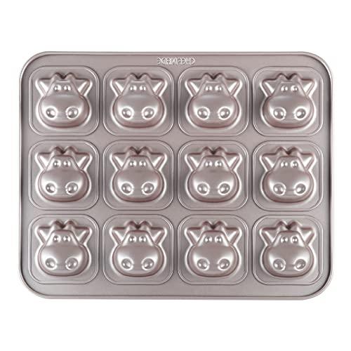 CHEFMADE Kuh-Kuchenform, 12 Mulden, antihaftbeschichtet, Tier-Muffin-Backgeschirr für Backofen (Champagnergold)