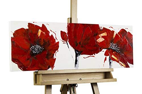 KunstLoft Dipinto Acrilico 'Papaveri Rosso Fuoco' 90x30cm | Tele Originali manufatte XXL | Rosso | Quadro da Parete Dipinto in Acrilico Arte Moderna in Un Pezzo