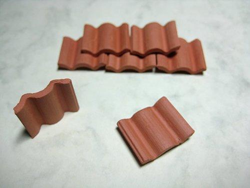Falzziegel Dachpfannen, 40 Bausteine, Rot