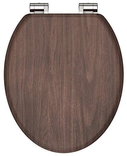 SCHÜTTE MDF-Holzkern Sitz Dark Wood, Toilettensitz Absenkautomatik, Klobrille Holz passend für alle handelsüblichen WC-Becken, Deckel und Brille in Holzoptik 80193
