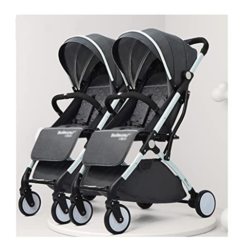 jiji sillas de Paseo Cochecito de bebé Gemelo, Puede Sentarse y acostar con un automóvil Infantil Desmontable, cochecitos portátiles de Almacenamiento Extra Plegables Cochecito de bebé