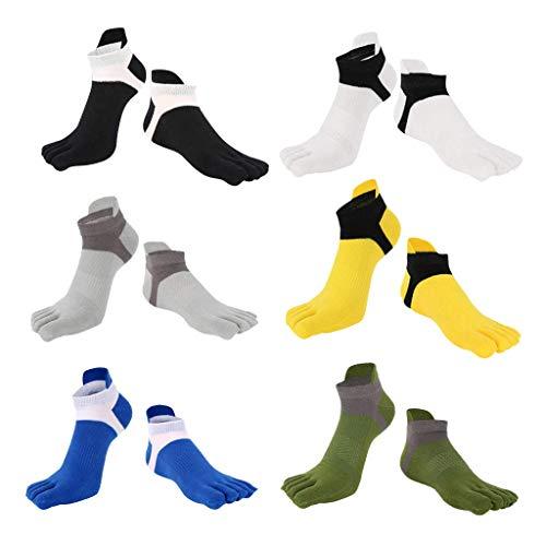 6 pares de calcetines de cinco dedos de corte bajo No Show Sports Running Yoga Crew Calcetines Casual