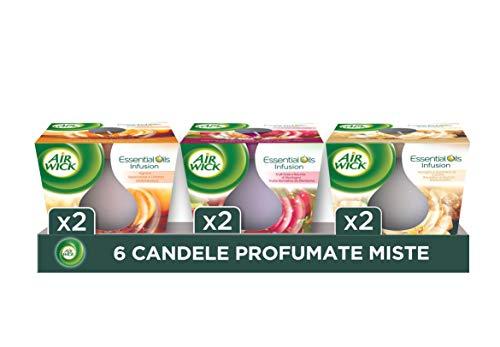 Airwick Candele Profumate, Confezione da 6 Candele, fragranze miste: 2 Candele Vaniglia e Zucchero di canna, 2 Candele Agrumi, 2 Candele Frutti rossi e Bacche di montagna - Candele da 105 gr