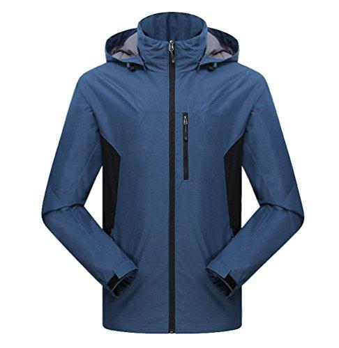 Jitong Homme Veste Impermeable à Capuche Blouson de Randonnée Coupe-Vent Outdoor Manteau Bleu Foncé XL