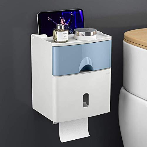 Soporte de Papel higiénico multifunción montado en la Pared Autoadhesivo Impermeable Caja de pañuelos de Almacenamiento de Doble Capa para baño Estudio y Cocina Azul
