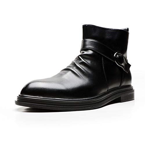 Gym Botas del Chelsea for Los Zapatos De Tobillo De Los Hombres Tirar En La PU Cuero Puntiagudo Punteado Bajo Lateral con Cremallera Correa De Hebilla Casual (Color : Black, Size : 41EU)