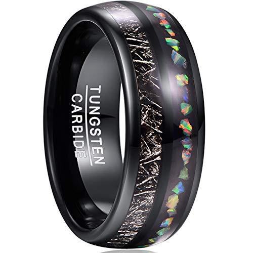 NUNCAD Ring Damen/Herren Schwarz aus Wolfram mit Opal, Meteorit Imitiert, Unisex Ring 8mm Größe 62 (22)