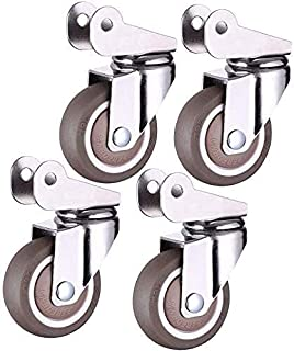 1.5in/2in Furniture Casters Wheels, 360-degree Swivel Castors, Polyurethane Mute Wheels,Flip Caster for Baby Cot (Color : ...