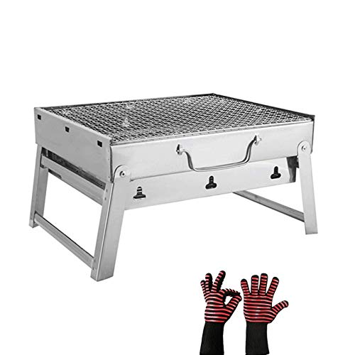 SHUMEISHOUT Portable Foldable and portable outdoor charcoal bbq Outdoor Barbecue Grill Stainless Steel Folding Free-Installation Barbeque Grill BBQ Charcoal Grill Portable Grill
