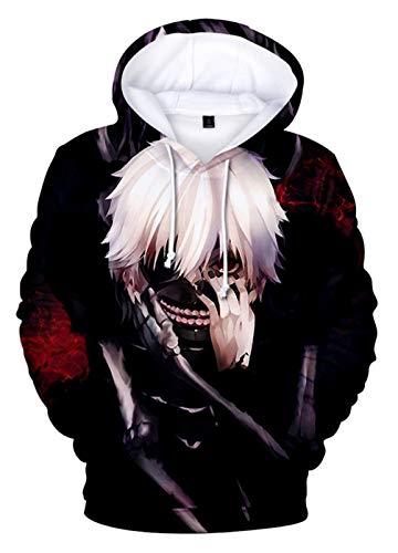 Cosstars Anime Tokyo Ghoul Kaneki Ken Hoodie Sudadera con Capucha Cosplay Disfraz 3D Impreso Pullover Suéter con Bolsillos Cordón
