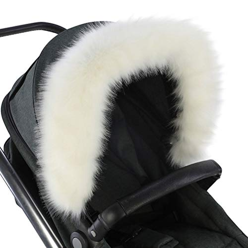 For-Your-Little-One aFHACWB-W165 Pram Fur Hood Trim Compatible On Bumbleride, Blanc