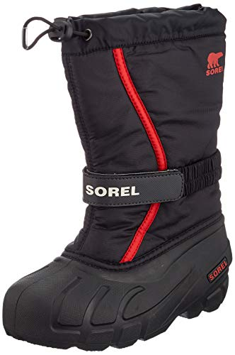 Sorel Unisex-Kinder Youth Flurry Schneestiefel, Schwarz/Rot (Black/Bright Red), 35 EU