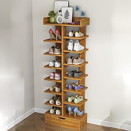 Rack De Zapatos De Bambú,Ahorro De Espacio Estantes De Zapatos Apilables De Pie Libre,Capacidad Extra Grande Gabinete De Almacenamiento De Zapatos Para Sala De Estar Del Armario De-Colores primarios 9