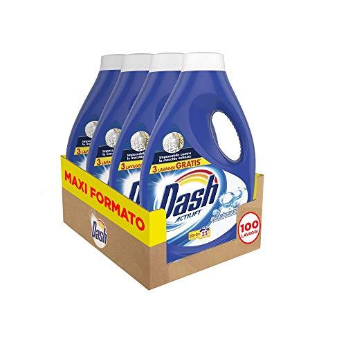 Dash Detersivo Liquido Lavatrice, 100 Lavaggi (4 x 25), Bicarbonato con Azione Igienizzante, Maxi Formato, Pulizia Profonda, Per Tutti I Capi