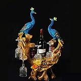 Casier à vin Paon Décoration Maison Salon Armoire À Vin Décoration Créatif Porte-Tasse De Mariage Cadeau De Bureau Décorations La Statue
