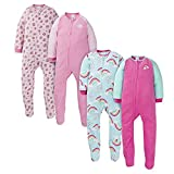 Gerber Baby Girls' 4-Pack Blanket Sleeper, Rainbow and Pink Leopard Toddler, 3T