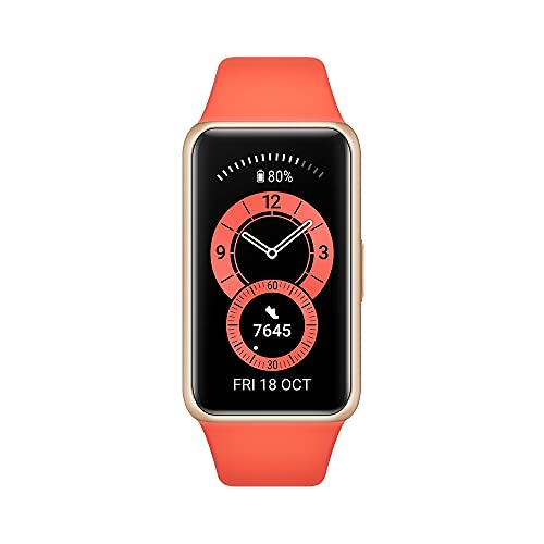 HUAWEI Band 6 Fitness Tracker Smartwatch for Men Women, 1.47'' AMOLED Color Screen, All Day Spo2 and Heart Rate Monitoring,2 Week Battery Life,5ATM Waterproof, Global Version,Orange