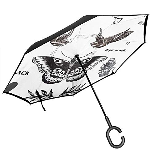 Doppelschichtiger umgekehrter Regenschirm mit C-förmigem Griff, Tattoo la Harry, Anti-UV, wasserdicht, winddicht, gerader Regenschirm für Autoregen im Freien
