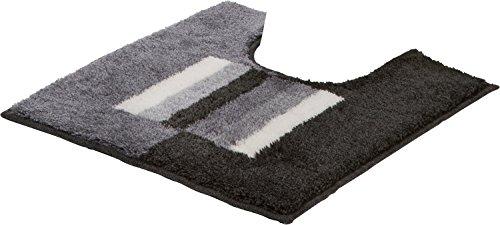 Erwin Müller WC-Umrandung, WC-Matte rutschhemmend grau Größe 50x50 cm - für Fußbodenheizung geeignet, flauschig, weich (weitere Farben)