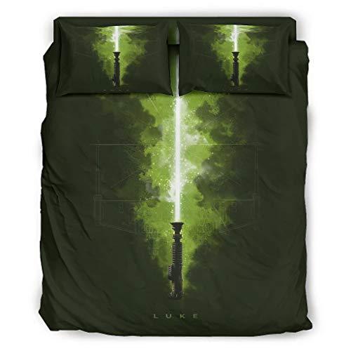 Luke Lightsabers Star Wars - Juego de cama de cuatro piezas con cremallera, incluye 1 funda nórdica y 1 funda nórdica y 2 fundas de almohada, color blanco, 203 x 230 cm