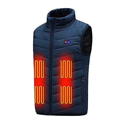 Komiseup Gilet chauffant pour homme/femme - 9 zones - Électronique - USB - Gilet chauffant électrique - Veste chauffante - Pour l'extérieur, la randonnée, la chasse, la moto, le camping, bleu, L