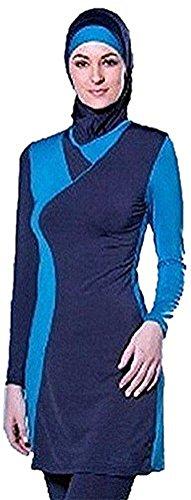 TianMai Neue Muslimische Bademode Muslim Islamischen Bescheidene Full Cover Badebekleidung Modest Swimwear Beachwear Burkini für Frauen (Blau, Int'l M (EU-Größe 36-38))