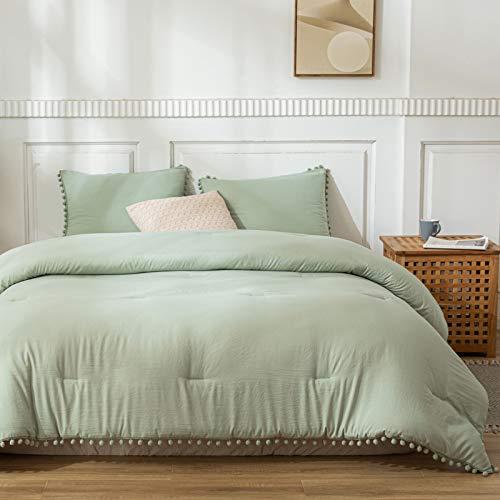 Dark Green Pom Poms Comforter Set Dark Sea Green Comforter Ball Fringe Design Soft Green Duvet Sets Queen 1 Comforter 2 Ball Lace Pillowcases (Queen, Dark Sea Green)