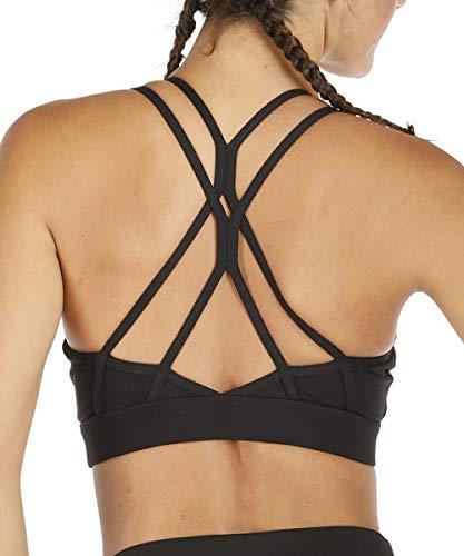 Yaavii Sport BH Starker Halt Gepolstert Push Up Frauen Bustier Atmungsaktiv Bra Top ohne Bügel für Yoga Fitness-Training Schwarz M