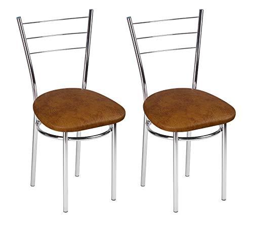 BSD Sedia da Pranzo Moderna in Ecopelle, Sedia da Sala da Pranzo, Set di 2 Sedie da Pranzo con Gambe in Metallo - Drako Trapezio - Colore: Ontano Rugoso - Set di 2