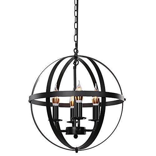 Lika - Lámpara de techo (4 luces, 15,8', diseño rústico, color negro