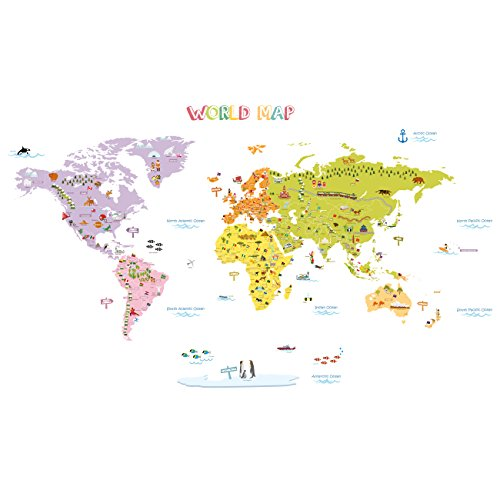 Decowall DMT-1306N Colourful World Map Kids Wall Decals Wall Stickers Peel and Stick Removable Wall Stickers for Kids Nursery Bedroom Living Room (Large)